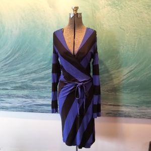 Blue and black striped wrap dress